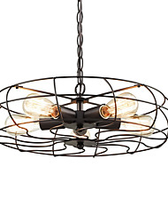 Vintage Loft Creative Lighting Lamps Metal Pendant Lights 5 Lights Painted Finish Industrial Fan Chandelier