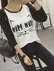 Tee-shirt Femme,Couleur Pleine Imprimé Décontracté / Quotidien simple Eté Manches Courtes Col Arrondi Coton Moyen