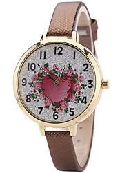 Women's Fashion Watch Wrist Watch Quartz PU Band Unique Creative Cool Casual Cute Silver Powder Multi-colored Heart shape Alloy Dial Watches