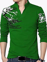 Hombre Simple Tejido Oriental Casual/Diario Vacaciones Tallas Grandes Para Todas las Temporadas Camiseta,Escote en Pico EstampadoManga