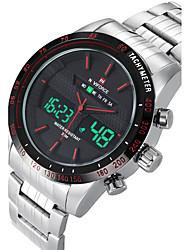 NAVIFORCE Мужской Спортивные часы Модные часы Наручные часы Повседневные часы Кварцевый Цифровой Календарь С двумя часовыми поясами
