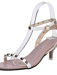 Women's Sandals Comfort PU Summer Casual Comfort Rivet Low Heel White Black Light Purple Red Dark Green 1in-1 3/4in