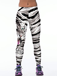 Women's Sporty Look Fashion Tiger Stripe Print Breathable Quick Dry Compression Stretch Spring/Summer Sports Tights Pants Fitness Running Leggings