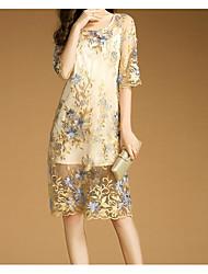 Tunique Robe Femme Décontracté / Quotidien simple,Imprimé Col Arrondi Mi-long ½ Manches Polyester Printemps Automne Taille NormaleNon