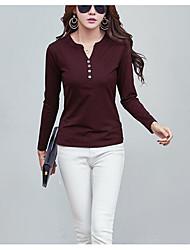 Tee-shirt Femme,Couleur Pleine Sortie simple Manches Longues Asymétrique Coton