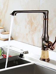 Art Deco/Retro Standard Spout Centerset Widespread with  Ceramic Valve Single Handle One Hole for  Rose Gold , Kitchen faucet