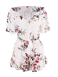 ANGELL Women's High Rise Going out Casual/Daily RompersSimple Street chic Loose Floral Spring Summer