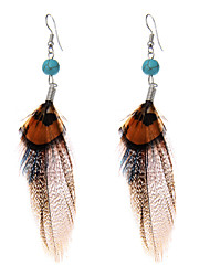 lureme® Drop Earrings Turquoise Basic Sexy Crossover Luxury Victorian Feather Turquoise Geometric Wings / Feather Jewelry ForParty Birthday Thank