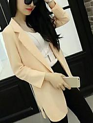 Blazer Femme,Couleur Pleine Décontracté / Quotidien simple Printemps Manches longues Revers Cranté Long Polyester