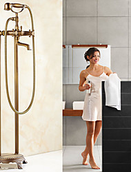 Antique Centerset Widespread Floor Standing Pullout Spray with  Ceramic Valve Two Handles Two Holes for  Antique Copper , Shower Faucet