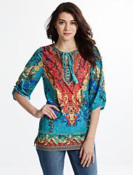 Kadın Dışarı Çıkma Sade Salaş Elbise Çiçekli,¾ Kol Uzunluğu V Yaka Diz üstü Yeşil Pamuklu Yaz Normal Bel Esnemez Orta