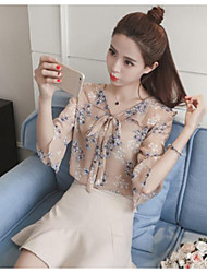 Women's Casual/Daily Simple Blouse,Print Embroidered V Neck ¾ Sleeve Silk Cotton