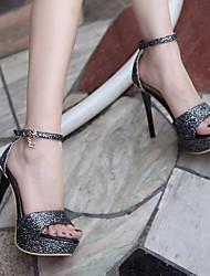 Женские каблуки весенние клубные туфли pu casual серебристое черное золото