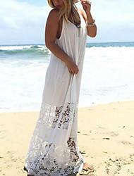 Gaine Robe Femme Plage Vacances Sexy Bohème,Couleur Pleine A Bretelles Maxi Sans Manches Polyester Eté Taille Haute Non Elastique Fin