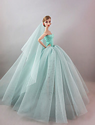 Evening Party Dress in Water Blue For Barbie Doll For Girl's Doll Toy