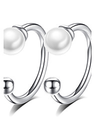 Clip Earrings AAA Cubic Zirconia Flowers Sterling Silver Imitation Pearl Jewelry For Wedding Party Daily Casual 1 pair