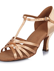 2017 New Brand Modern Customizable Women's Dance Shoes  Heeled shoes Latin Sandals  Satin Lightbrown
