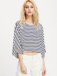 Damen Gestreift Niedlich Anspruchsvoll Lässig/Alltäglich Urlaub T-shirt,Rundhalsausschnitt Frühling Sommer ¾-Arm Baumwolle Dünn