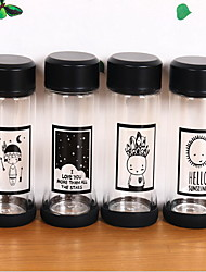 2Pcs Cartoon Drinkware 300 ml Portable Glass Water Water Bottle Random Pattern