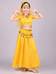 Belly Dance Outfits Kid's Performance Chiffon Spandex Tulle Coins Sequins 4 Pieces Short Sleeve Natural Top Skirt Veil Hip Scarf