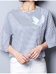 Tee-shirt Femme,Rayé Décontracté / Quotidien simple Manches Courtes Col Arrondi Nylon Spandex