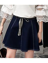 Women's Mini Skirts,Simple A Line Denim Solid