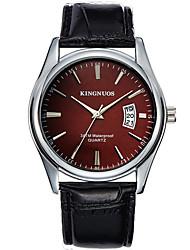 KINGNUOS Masculino Relógio de Moda Relógio de Pulso Relógio Casual Quartzo Calendário Couro Banda Legal Casual Preta Marrom Preto Marron