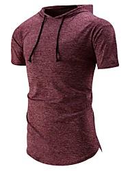 Herren Druck Einfach Aktiv Lässig/Alltäglich Sport T-shirt,Rundhalsausschnitt Sommer Kurzarm Baumwolle Kunstseide Dünn