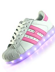 Feminino-Tênis-Light Up Shoes-Rasteiro--Couro-Casual