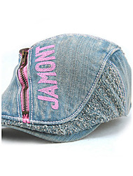 Unisex Women Men's Cotton Beret Hat Peaked Cap Vintage Casual Zipper Solid Sports Embroidery Summer All Seasons Black/Grey/Pink/Red/Yellow