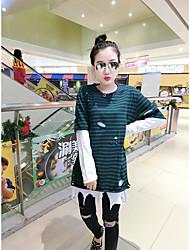 Damen Gestreift Einfach Formal T-shirt,Rundhalsausschnitt Langarm Baumwolle