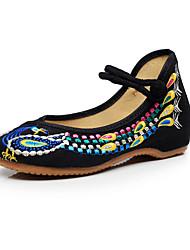 Femme-Extérieure Bureau & Travail Habillé Décontracté--Talon Plat Gros Talon-Confort Nouveauté Chaussures brodées-Oxfords-Toile