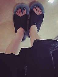 Women's Slippers & Flip-Flops Fall Winter Ankle Strap Synthetic Casual Flat Heel Gray White