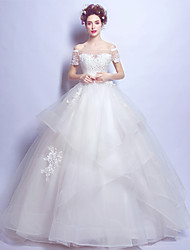 Ball Gown Wedding Dress Lacy Look Floor-length Off-the-shoulder Tulle with Lace