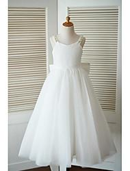 um vestido de menina de flor de comprimento de tornozelo de uma linha - tiras sem molho de renda com beading by thstylee
