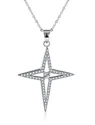 Femme Pendentif de collier Colliers chaînes Zircon cubique Forme Géométrique Argent sterling ZirconBasique Original Pendant Géométrique