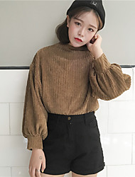 Women's Casual/Daily Sweatshirt Solid Stand strenchy Polyester Long Sleeve