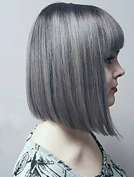 style chaud gris argent deux tons naturel style mixte de cheveux de bob avec une frange droite perruques de sans bonnet synthétiques