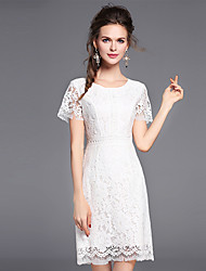 Women's Going out Party Sexy Lace Dress,Solid Round Neck Above Knee Short Sleeve Cotton Nylon Summer Mid Rise Inelastic Medium