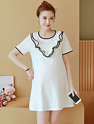Maternity Summer Wear Fashionable Sweet Fashion  V Black And White Lace  Leisure Pregnant Women Dress