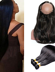 8A Pre Plucked 360 Lace Frontal With Bundle Burmese Straight Hair Peruvian Virgin Hair Bundles With Closure Human Hair Weave