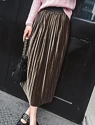 Femme Décontracté / Quotidien Midi Jupes,Crochet Couleur Pleine Eté