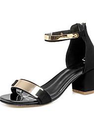 Damen-Sandalen-Kleid-Wildleder-Blockabsatz-Komfort-Schwarz Grün