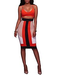 Для женщин Для вечеринок Для клуба Секси Облегающий силуэт Платье Контрастных цветов,Глубокий V-образный вырез До колена Без рукавов