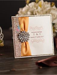 Elegant Gold Glitter Wedding Invitations Card With Ribbon and Rhinestone Brooch Birthday Party & Baby Shower Invitations TKY315