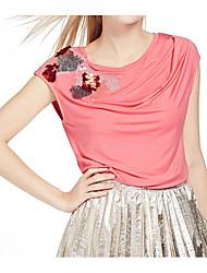 Damen Druck Einfach Lässig/Alltäglich T-shirt,Rundhalsausschnitt Ärmellos Baumwolle
