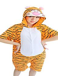 Girls Summer Kigurumi Pajamas Anime Tiger Leotard/Onesie Festival/Holiday Animal Sleepwear Halloween Orange Animal Print CottonCosplay Costumes