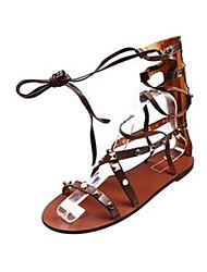 Черный Коричневый-Для женщин-Повседневный-ПолиуретанУдобная обувь-Сандалии