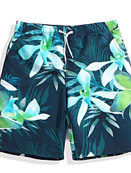 Men's Mid Rise Inelastic Shorts Pants,Chinoiserie Loose Print