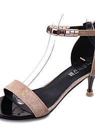 Damen-Sandalen-Lässig-PU-Stöckelabsatz-Komfort-
